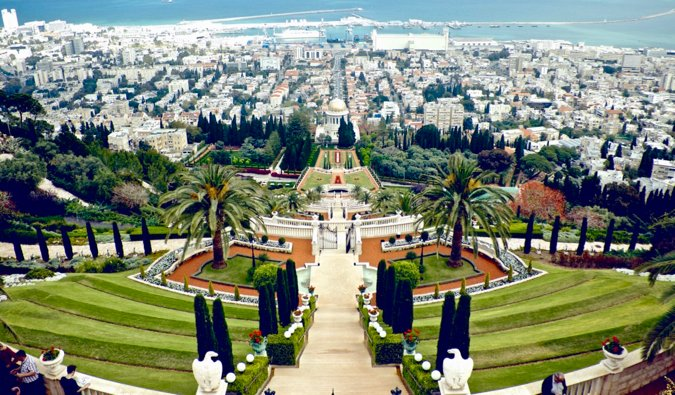 Les superbes jardins près de la côte à Haïfa, Israël